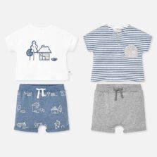 Σετ μπλούζα σχέδιο και παντελόνι κοντό Νεογέννητο αγόρι 1669-045