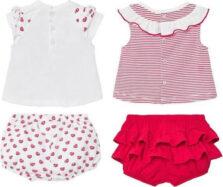Σετ μπλούζες σταμπωτές και παντελόνι κοντό Νεογέννητο κορίτσι 01672-081