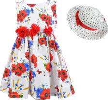 Φόρεμα εμπριμέ με καπέλο για Κορίτσι Εβίτα 202207