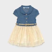 Φόρεμα τζιν με τούλι baby κορίτσι Mayoral 21-01989-005