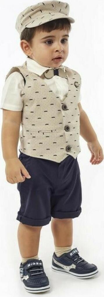 βρεφικο-σετ-βερμουδα-πουκαμισο-γιλεκο-καπελο